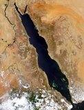 Satellite image of the Red Sea area including (clockwise from top) part or all of the territories of Israel, Jordan, Saudia Arabia, Yemen, Djibouti, Eritrea, Ethiopia, South Sudan, Sudan, Egypt.